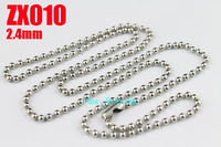 stainless steel ball chain 2.4mm beads necklace with waist buckle chains fashion Jewelry parts 20pcs ZX010-3
