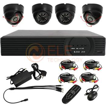 Free shipping 4CH H.264 DVR 4pcs Night Vision Dome camera surveillance Security Cctv System,DVR WITH HDMI OUTPUT,CCTV DVR