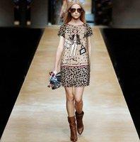 New Fashion Shopping Girl Leopard Prints Casual Dress SS12191 Women Short Sleeve Printed Silk Dresses Plus Size Cute Dresses