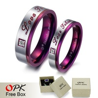 OPK JEWELRY High Quality Purple couple Titanium Steel rings Wedding bands inlaid crystal promise jewelry 297