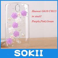 DIY rose flower Diamond Bling Case Cover For Huawei G610 G610S C8815 bling cover+ Screen Protector
