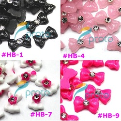 Freeshipping-Hot Sales Resin Bowknot with Rhinestone Nail Art Decoration Colors Bowknot 100pcs/bag wholesales SKU:D0097X(China (Mainland))