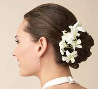 Wholesale Artificial Flower Cymbidium Orchid Hair Clip For Wedding Hair Accessories White