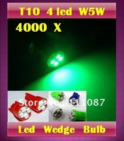 Via DHL !! Promotion ! 4000  X T10 4 led 1210 3528 4 smd 194 168  High Power LED wedge Light Bulb -mix color allowed