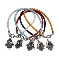 Wholesale Jewelry Retro Silver Bracelets Antique Alloy evil eye hamsa Plam Woven Bracelet Fashion Handmade Braided Bracelet