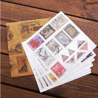 Retro Envelope Stamp Sticker European Wood Stamp Sticker Set Diary DIY Decoration Free Shipping 80275