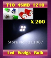 HOT  ! 200  X T10 4 led 3528 1210 4 SMD 194 168 clearance light  High Power wedge LED Light Bulb-Red ,Blue,Green,White
