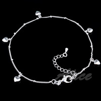925 Silver Anklets High Quality Fashion Jewelry Solid Heart Pendant Anklet MA003