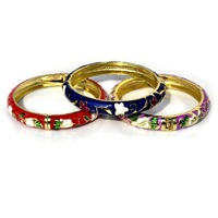 FREE SHIPPING   wholesale mixed color 6pcs/lot special  sparking  womens Cloisonne ceramic Enamel Flower Leaf Bangle Bracelet