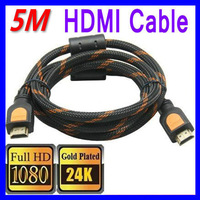 Free Shipping HDMI Cable 5M Gold 1.4A Video HDTV 1080P 3D HDMI 1.4 19 pin Ethernet Channel