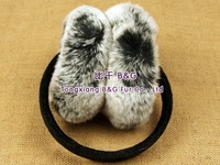 BG5193 2014 New Real Rex Rabbit Fur Earmuff With Flowers Pattern Winter Ladies Earfmuff