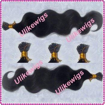 AAAAA Quality I Stick Tip Virgin Hair Weft 100%Brazilian Virgin Hair Extension (0.8g/strand x 100)- Color #1b Body Wave