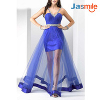 2014 Free Shipping Wholesale Price Glamorous Dress Hand Beading Evening Gown Pleat Organza V-neck Homecoming dresses JA120471