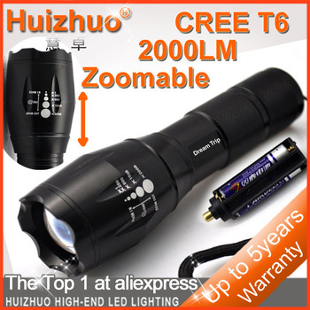 Big Discount[Dream Trip]CREE XM-LT6 2000lm Zoomable Waterproof LED Flashlight(1pcs battery holder and 18650 casing included)