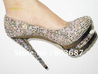 Sale Promotion Women Colorful Diamond Pumps Rhinestone Platform High Heels Shoes