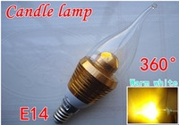 Free shipping,E14 candle bulb,  3W high power 360 degree candle lamp, AC110-220V
