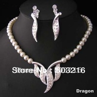 High Quality Free Shipping Hot Selling Austrian Crystal Silver Plated  White Pearl Wedding Jewelry Set