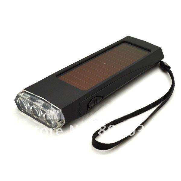3 Leds Solar Panel Sun Power Energy Torch Flashlight Camping Light Portable Key Chain Hiking Rechargeable Spotlight Lamp(China (Mainland))