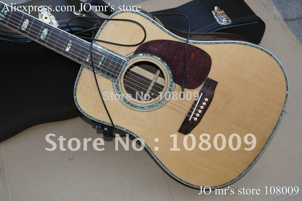 Handcraft acoustic guitar Spruce Top Abalone Binding Body with Fishman microphone Pickups Acoustic Electric Guitar(China (Mainland))