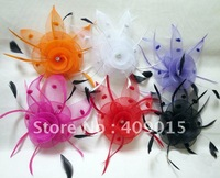 Gorgeous Hair Flower Fascinator Women Hair Clips,Corsage Pin. 6 colors available 12pcs/lot.C290