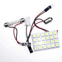 free shipping wholesale 5pcs  24 SMD 5050 12V Car interior auto Dome Door LED Panel Light bulbs