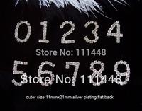 (S0231) 11mmx21mm rhinestone number 0-9,silver plating,flat back