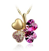Retail 18k gold plated austrian crystal leaf colver pendant necklace