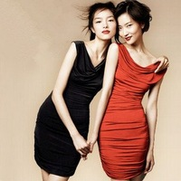 FREE SHIPPING! 2012hm women's one-piece dress slim ruffle all-match plus size gentlewomen