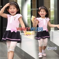 Clearance! New Baby Girl's Summer Dress with Turndown Collar Stripe Design and Cute Bowknot 5pcs/lot