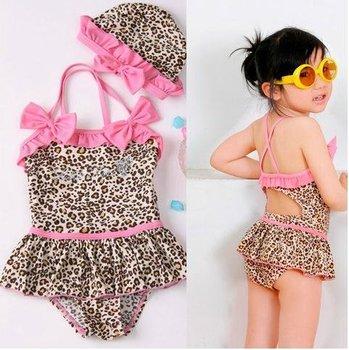 little girl one-piece Swimwear cute swimsuits LEOPARD  PINK BOWS chirdren kids pool beach wear dress / swim cap set  hot sell