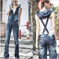 Free Shipping New Women's denim overalls, hooded piece pants jumpsuit Suspenders-G161