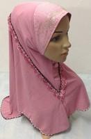 lz014  Muslim black  long Shawel with inner Cap Silk shawel new design islamic scarves Accept