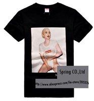 Supreme Box Logo Tee fashional T shirt men's shirt sexy lady GAGA 2pcs/lot free shipping black white for choice