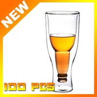 100pcs NWT Hopside Down Bottle Durable Double Walled Borosilicate Glass Beer Mug Cup