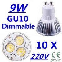 10X High power CREE GU10 3x3W 9W 220V Dimmable Light lamp Bulb LED Downlight  Led Bulb Warm/Pure/Cool White