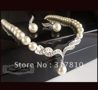 Silver Plated Cream Pearl and Rhinestone Crystal Bridal Necklace set with earrings