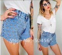 2014 New Fashion Studs Rivet Denim Shorts Women's Jeans Short Pants High-waist Blue Shorts CA12185