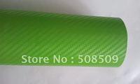 Apple green 3D Carbon Fiber Vinyl Film Car Sticker Twill Weave Texture Glue with Release Air Drains Wrap green0001