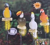 NEW Solar Resin Parrot Figurine Garden Yard Decor Stake Light/Set of 4