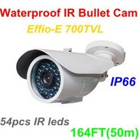 700TVL Effio-E Sony Color CCD Outdoor IR Bullet Camera with 54pcs IR leds, 164ft(50m) Night Vision