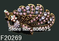 Wholesale vintage Bronze peacock rhinestone fashion alloy hair clip hair ornament  Free shipping 12pcs/lot Mixed colors F20269
