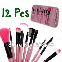 Professional Makeup Brush Set + Pink Leather Case Make Up Brush Eye Shadow Brush 12pc/set