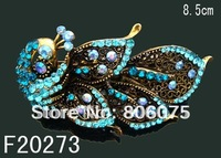 Wholesale vintage Bronze peacock rhinestone fashion alloy hair clip hair ornament  Free shipping 12pcs/lot Mixed colors F20273