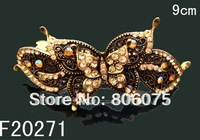 Wholesale vintage zinc alloy rhinestone Butterfly hair clips Hair Accessories  Free shipping 12pcs/lot Mixed colors  F20271