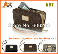Free Shipping By DHL High quality original Zipper wallet Real leather pouch bag case for iphone5 5c 5s 4GS 10pcs/lot Wholesale