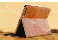 20x world map leather case charts cover  Hibernation feature both for ipad 3 and for ipad 2  for new ipad, free shipping