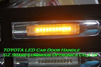 Professional! Top 4pcs/set Yellow/Blue White Chromed LED Door Handle For TOYOTA COROLLA/CAMRY/CROWN/REIZ/PRADO/YARIS Free HKPAM