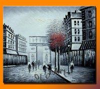 Black & White With Red Tree Paris Street Arc De Triomphe Oil Painting Canvas Art On Canvas , oLo PCS003