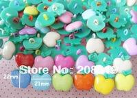 NB0111 Big size APPLE  shape plastic SHANK buttons 22mm*21mm 100pcs/lot craft buttons mixed