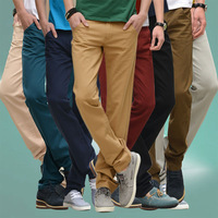 2014 Men's Chinos Pants Large Size Cargo Pants for Man business Comfort Cotton Trousers 8 Colors Yellow Green Khakis W28-38 D259